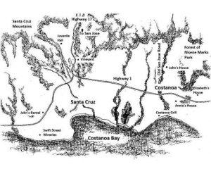 California romance map for Costanoa series